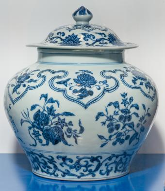 Antique Chinese Ming blue and white wine jar on display