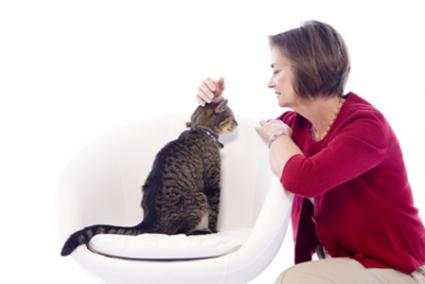 Author Paula Brown and her cat Boomer