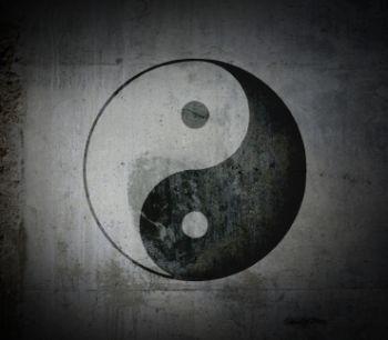 Image of a black and white yin yang symbol
