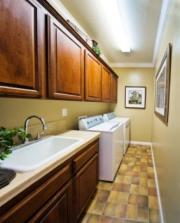 Blues, greens and browns are great colors for your laundry room.