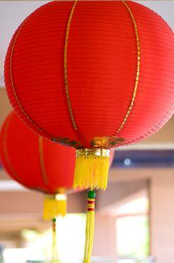 Red paper lanterns for good luck