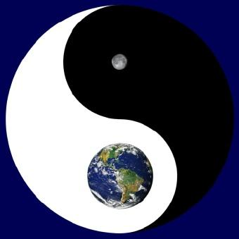 Yin yang with the earth and moon
