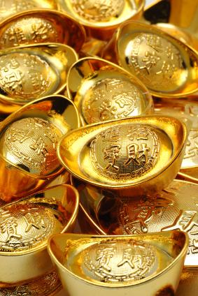 several gold ingots