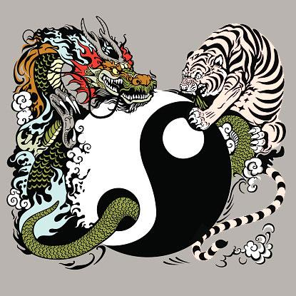 Tiger And Dragon Energy In The Yin Yang Symbol
