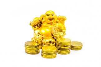 Buddha with coins