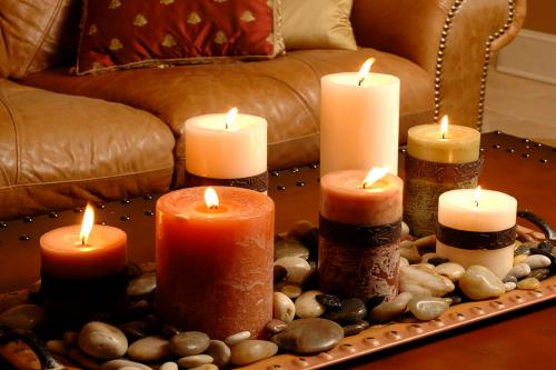 Candles and sofa