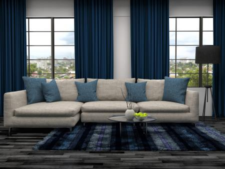 Blue Sitting Room With Blinds