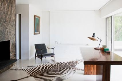 office faux zebra skin rug