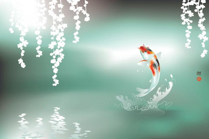 Feng Shui Koi Fish Jumping Art