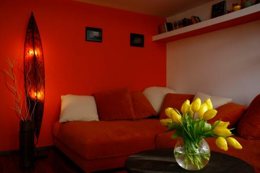 orange and white style room