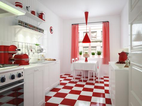 Red and white checked kitchen