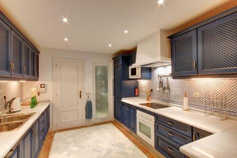blue and cream-colored kitchen
