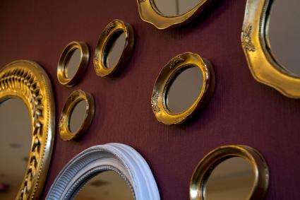 Framed mirrors in various shapes