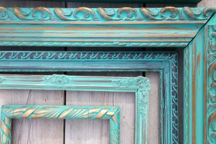 Ornate green stained wood frames