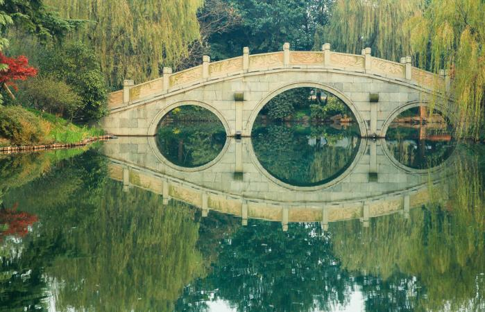 Tradicional Chinese Garden and Bridge
