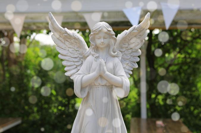 White angel statue in the garden