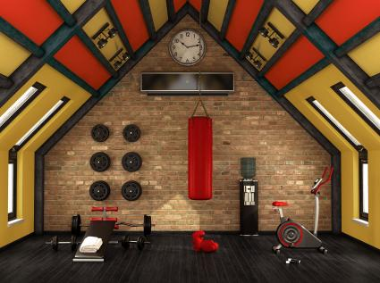 Red accent in home workout room
