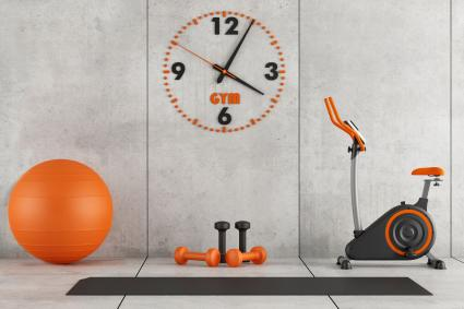 orange and concrete gray home gym