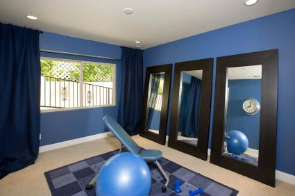 Blue and black home exercise room