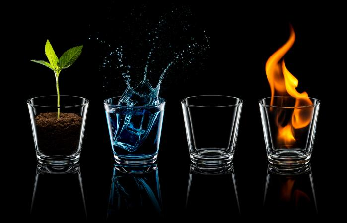 the four elements in water glasses