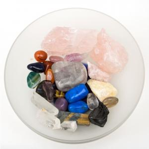 Glass bowl of crystals