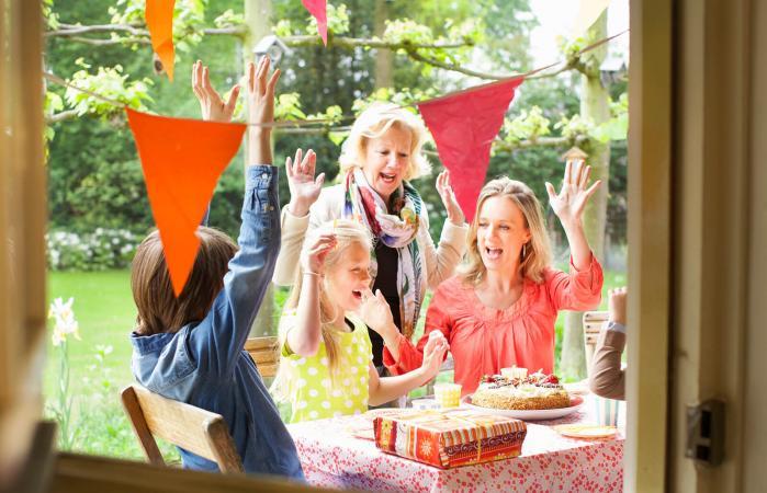 Family at birthday party