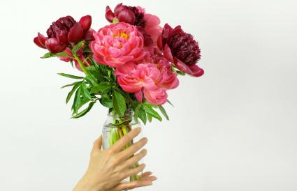 Pink and Red Peonies in a Mason Jar