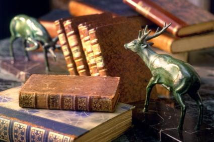 Antique print paper books with two deer bookends