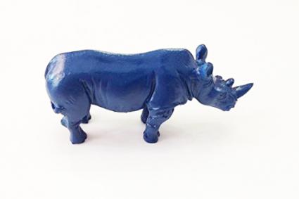 Feng Shui Double Horn Blue Rhinoceros Statue to Anti Burglary