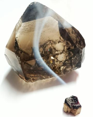 Cleansing a smoky quartz crystal