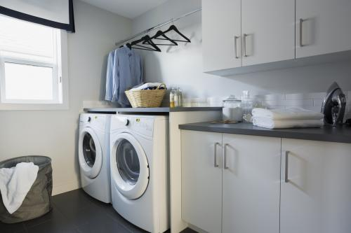 Tidy, uncluttered laundry room