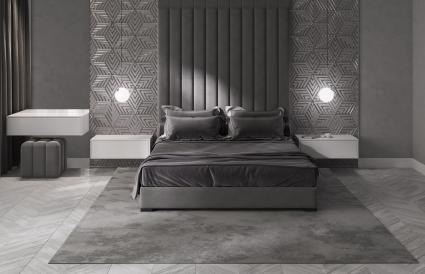 Gray modern bedroom with dressing table