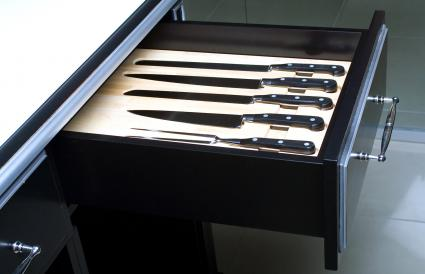 Knife set in modern kitchen