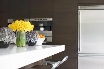 Yellow flowers in modern kitchen