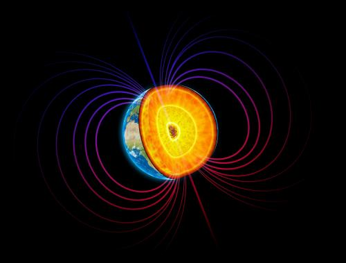 Illustration of earth's core and magnetism.