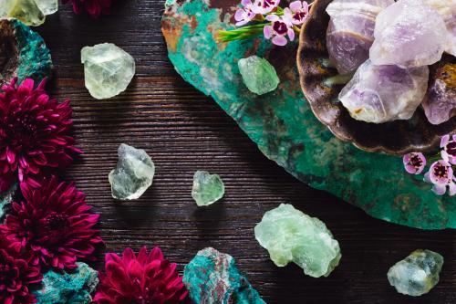 Healing crystals and flowers