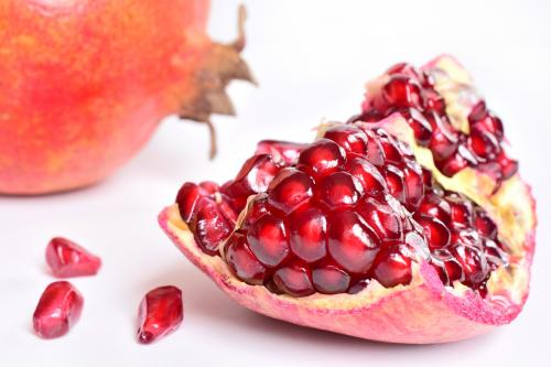 Pomegranate seeds in shell