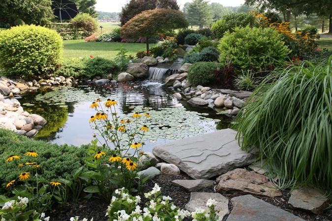 water feature in a backyard