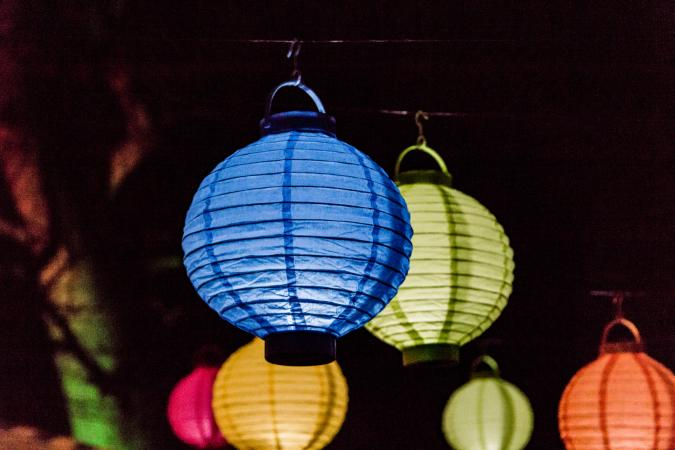 multi-colored paper lanterns