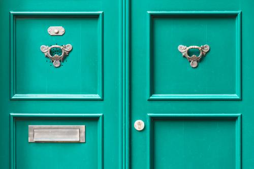 Green double front door