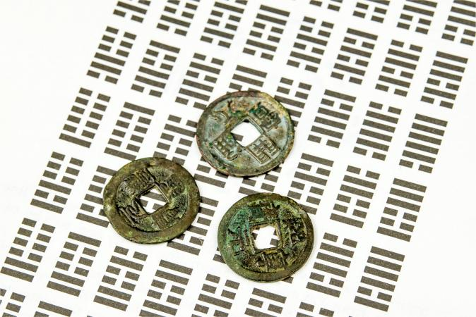 Coins and hexagrams for I Ching divination