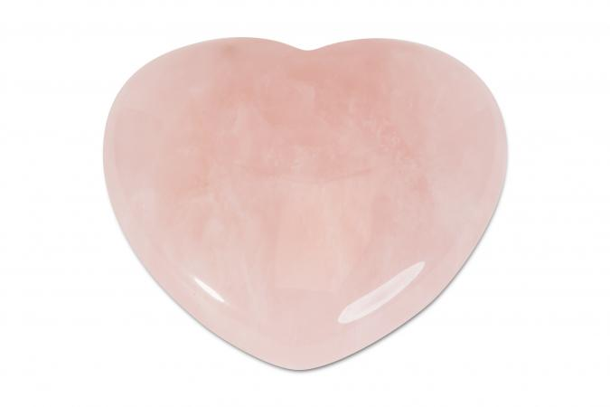 carved rose quartz heart