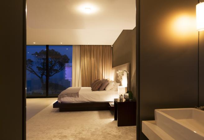 Nice bedroom at night