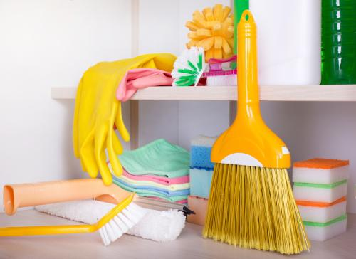 Broom and cleaning supplies closet