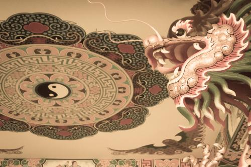Temple ceiling mural depicting yin and yang