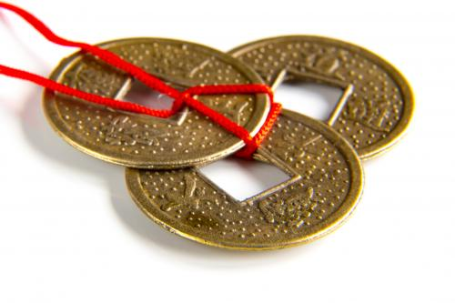 Feng shui coins tied with reed string