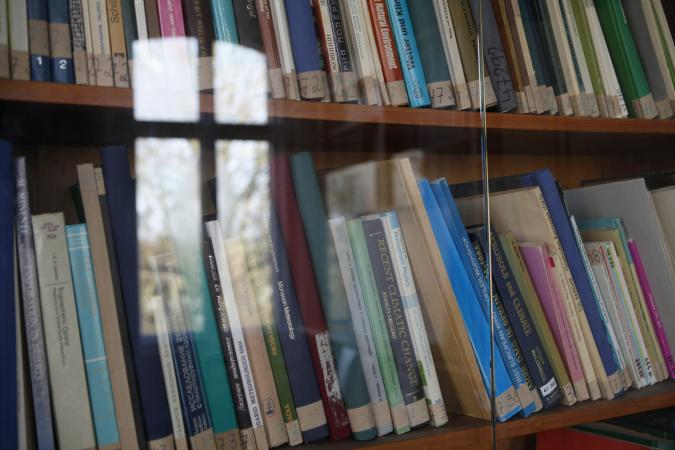 Books behind glass