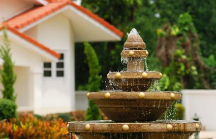 Image of a fountain in backyard