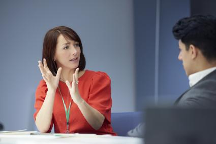 female consultant teaching