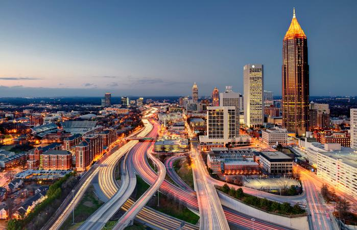 Skyline and highway system in downtown Atlanta
